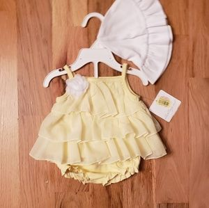 NWT Starting Out Yellow Swing Dress w/ Hat